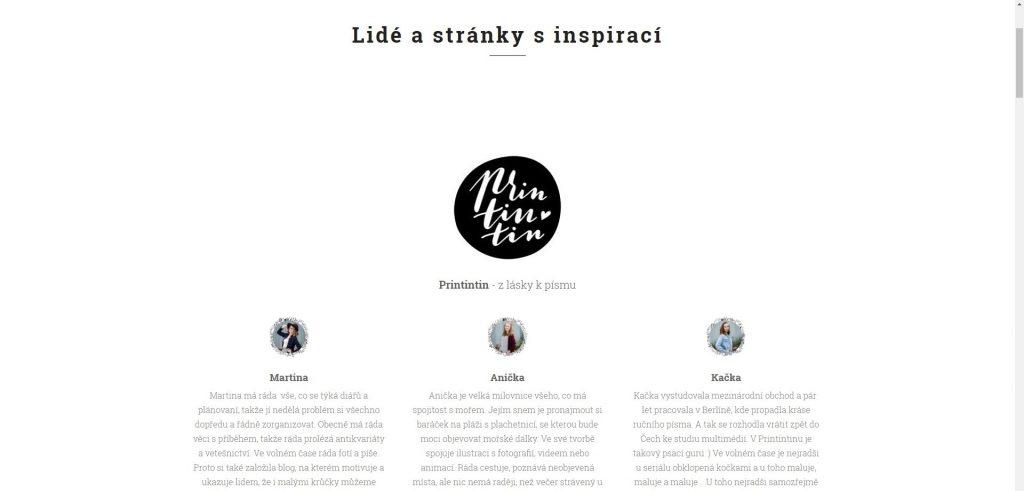 Lidé a stránky s inspirací